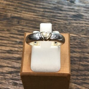 Jewelry - Sterling Silver with 14k Yellow Gold Heart Ring